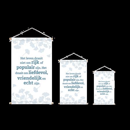 wanddoek wit met blauw